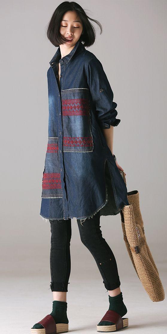 2bbdc1654a Fashion Quilted Blue Long Denim Shirt Women Cotton Tops C1888 ...