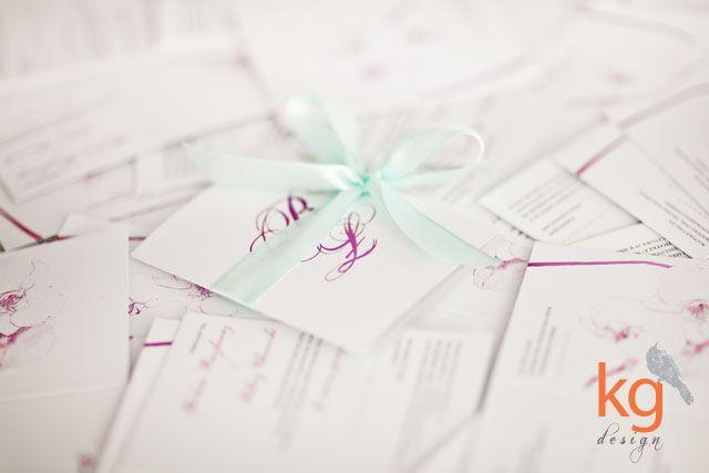 oryginalne nietypowe zaproszenia ślubne, motyw przewodni, storczyk, fioletowe, miętowe, RSVP, mapka dojazdu, eleganckie zaproszenie na ślub,...