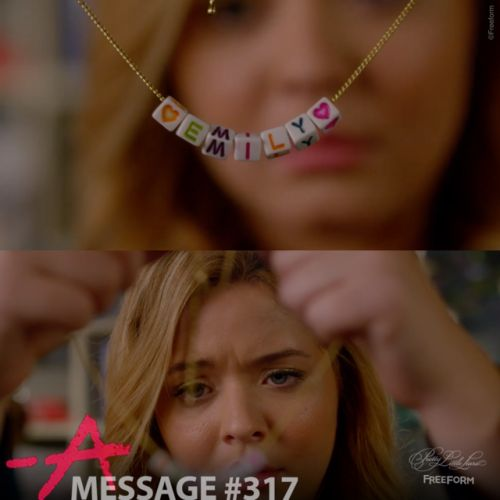 """Message #317 from A.D (with a personalized bracelet """"for the egg donor"""" with Emily's name). Sent to Alison. The Darling Duck. 4 of 10 // Season 7, Episode 14. #PLLEndGame"""