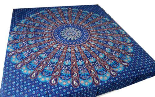 Tagesdecke-bett-ueberwurf-Mandala-Shining-Picknick-decke-Indien-Goa-Wandbehang