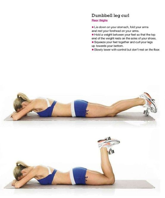 dumbbell leg curl - i could also use my ankle weights
