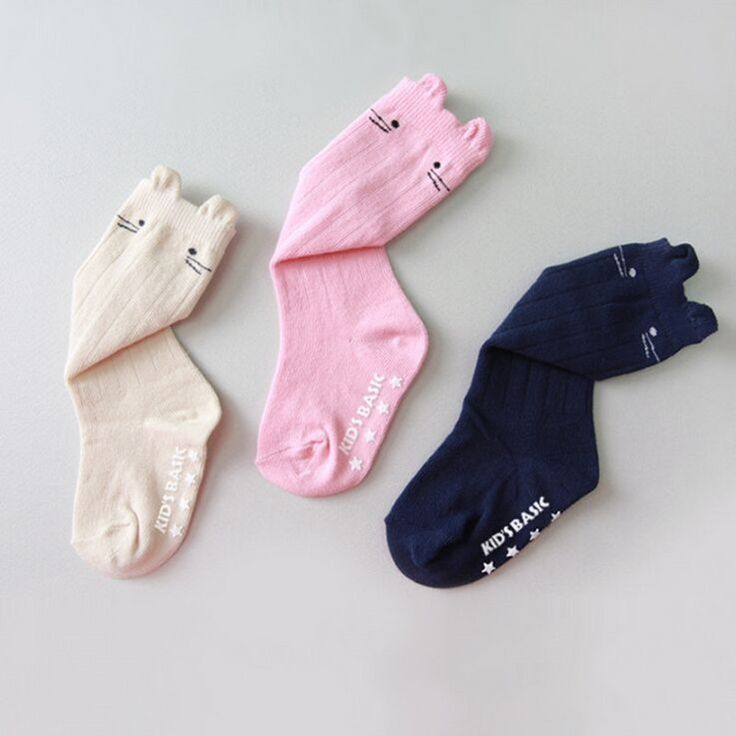 0-3T New born anti slip  knee high baby girls socks boys leg warmers autumn and winter 1pairs Magic Sock