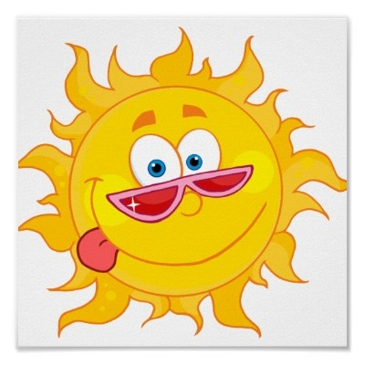 silly happy sun cartoon wearing shades posters