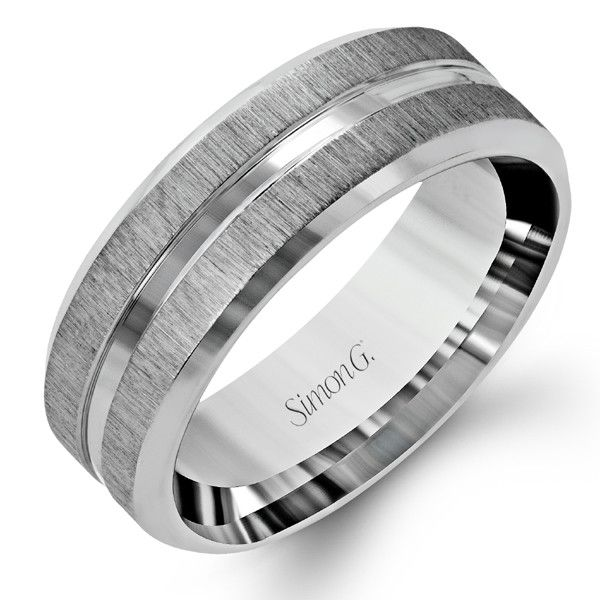 Choice 3  Simon G 14K White Gold Men's Satin Wedding Band With Polished Accent. Style LG152