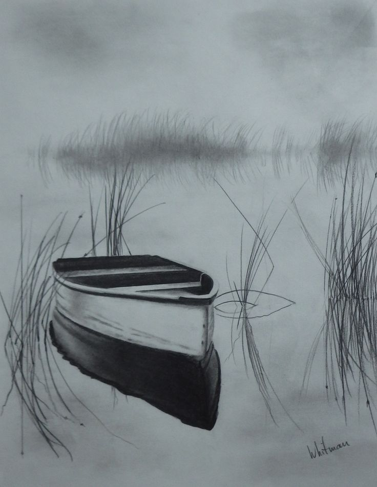Misty row boat on the lake, reflections, sketch. Original art, graphite pencil drawing by Elena Whitman.