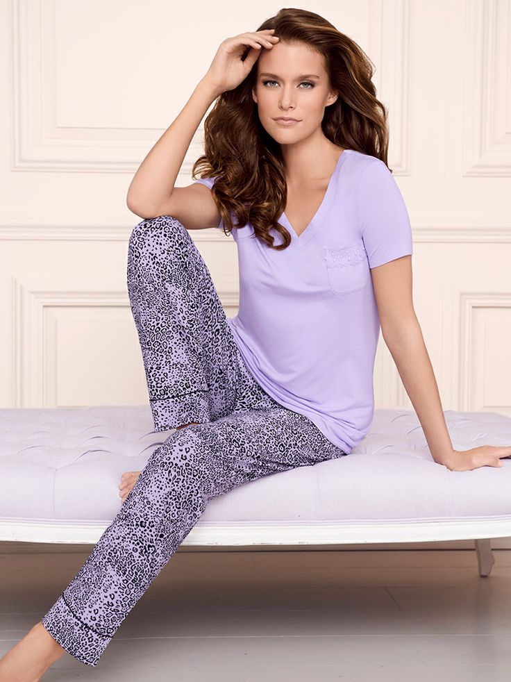 Soma Embraceable Pajamas: Ankle Pant in Ever Leopard & Sleep Tee in Lavender #LoveSoma