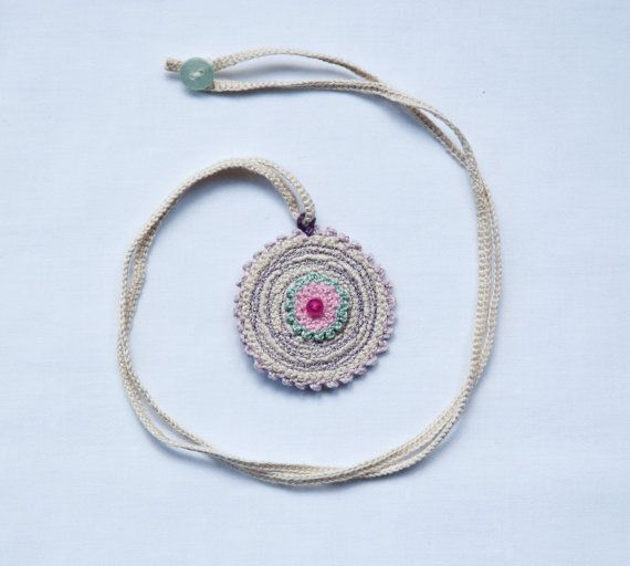 Mariko - Crocheted Pendant - Crochet Jewelry - Original Piece (only one made in these colors)