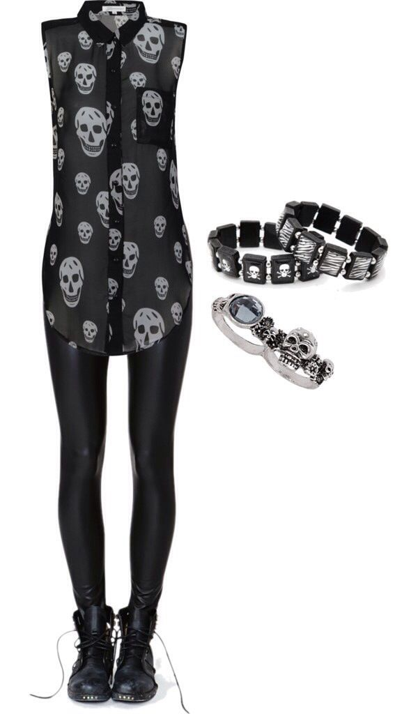 Punk / rock / skull / cute girl outfit / black