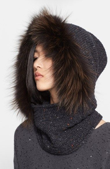 Fabiana Filippi Genuine Fox Fur & Paillette Knit Snood | Nordstrom