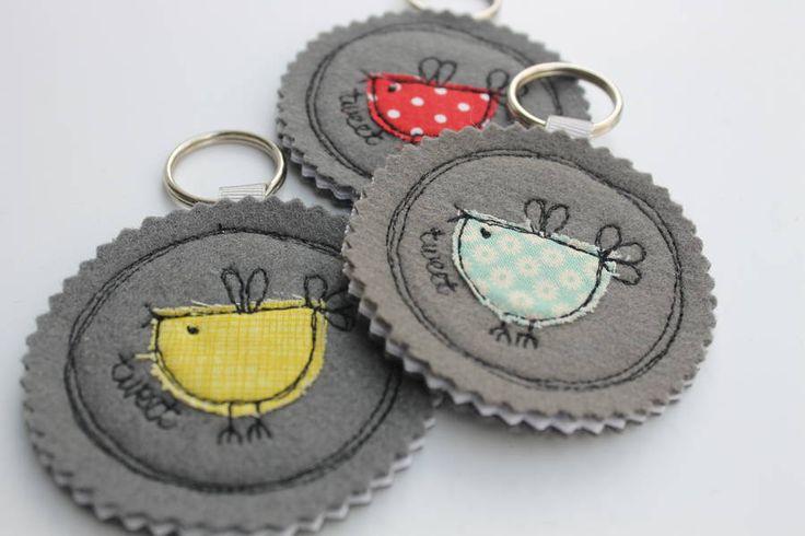 Fabric Birdy Key Ring