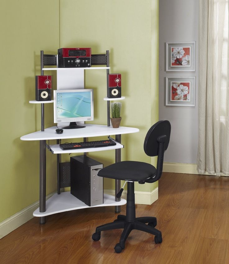 Virtual Dorm Room Design: Pewter Finish Corner Workstation Kids Childrens Computer
