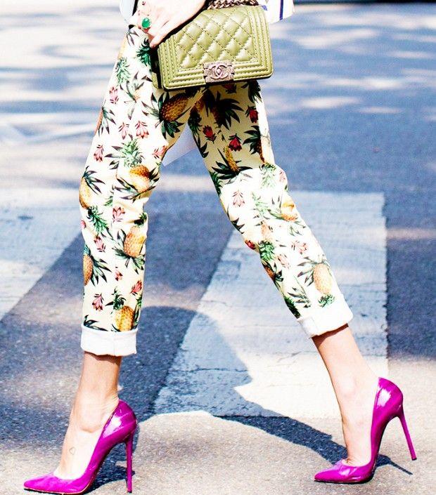 Printed Pants & Bright Heels