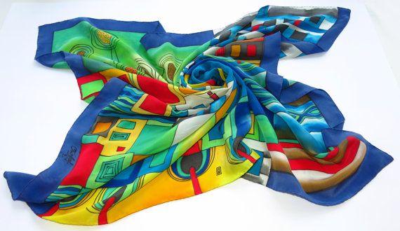 Bright Hundertwasser silk scarf. Rainbow scarf Hand by SilkMood