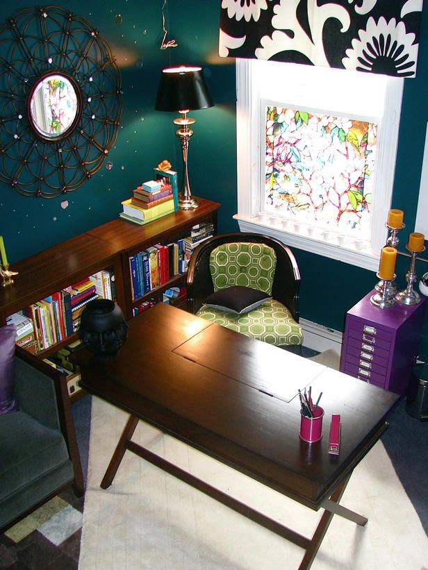 Have fun in your home office by mixing bold colors with eclectic accessories. RMS user DesignbyInspiration chose a palette of deep green and purple for her office space. Touches of black and white add depth…