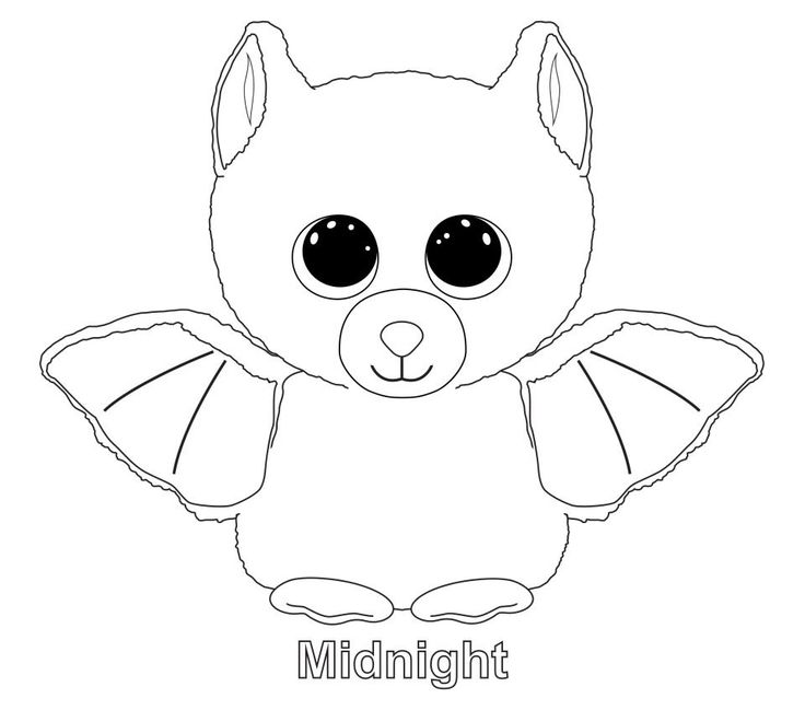 ty big eye coloring pages | Midnight the Bat TY Beanie Boo | Ty Beanie Boos ...