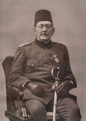 Baron Von der Goltz in late-Ottoman uniform. After defeat in the Russo-Turkish war (1877-1878), the Sultan appealed to Germany for assistance in reforming the Ottoman Army. This came in the form of an established Prussian Officer, Baron Wilhelm Leopold Colmar Von der Goltz . He spent 12 years reforming the Ottoman Army and elevated to the rank of Pasha, a signal honour for a non-muslim.
