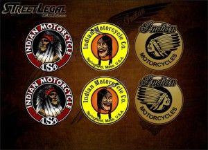 """6 Assorted 3"""" Indian Motorcycle Vinyl Decals (Series 1)"""