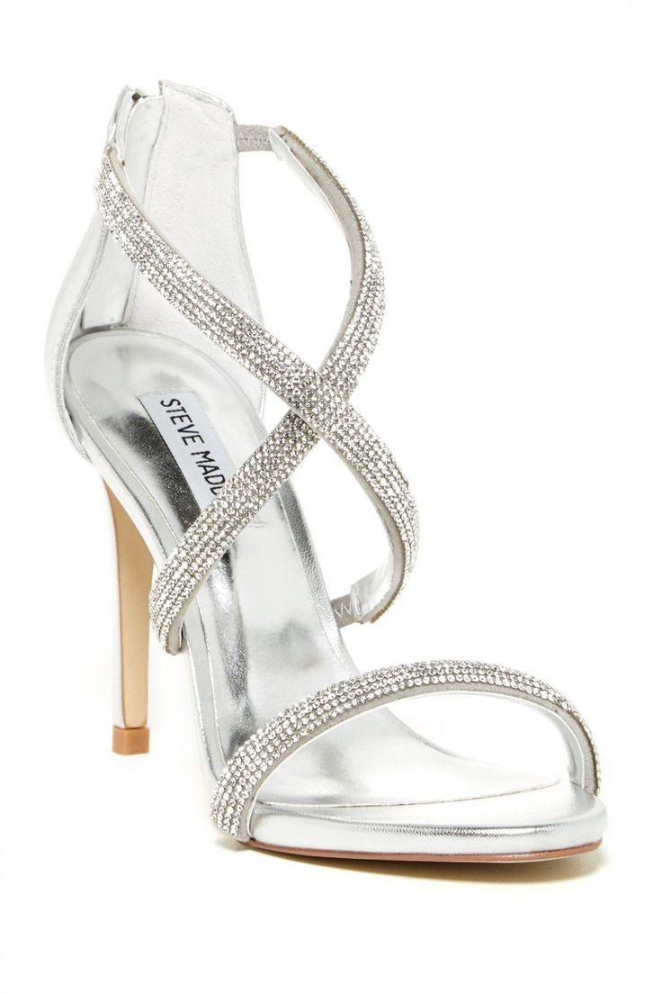 Chaussures De Mariage Argent Steve Madden Steve Madden Finaa Sandales A Lanieres En Strass Argent Silver Wedding Shoes Silver Shoes Bridesmaid Shoes