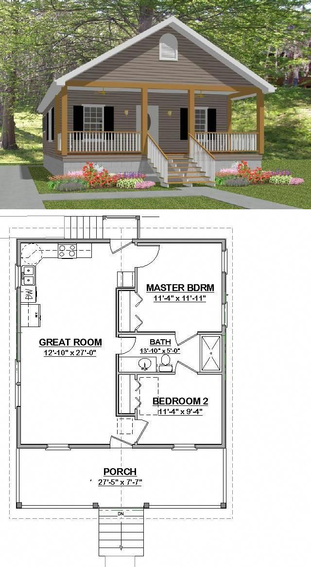 Custom Small House Home Building Plans 2 Bed Narrow 784sf Pdf File Building Plans House House Blueprints Small House Plans