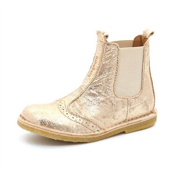 Bisgaard Stiefelette m. Budapester Lochung metallic gold