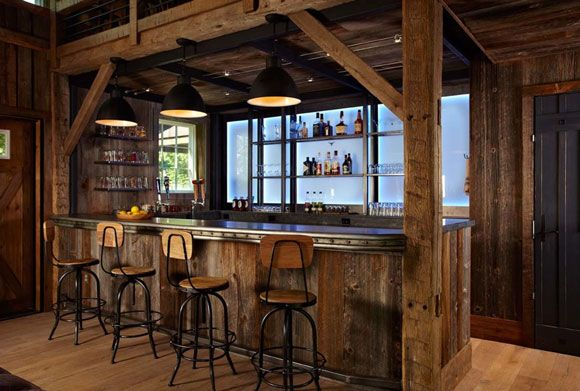 wooden western bar at home
