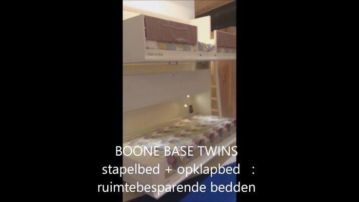BOONE BASE Stapelbed Twins 80 x 190 cm. van de film opname is een compact stapelbed met twee eenpersoons bedden. Onafhankelijk van elkaar zijn de bedden te gebruiken. Bovenbed met eronder het bureau of alleen het onderbed. Het wordt tegen de muur geplaatst Tussen de twee bedden is een opbergruimte, bureaublad voor een laptop,tablet,boeken..  Optie bij bureau : USB - oplader en stopcontact. www.theobot.nl