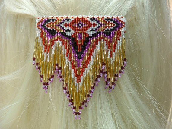 Lg. White, Red, Gold, Purple, and Black 4 Winds with Dangles. Handbeaded seed bead barrette.