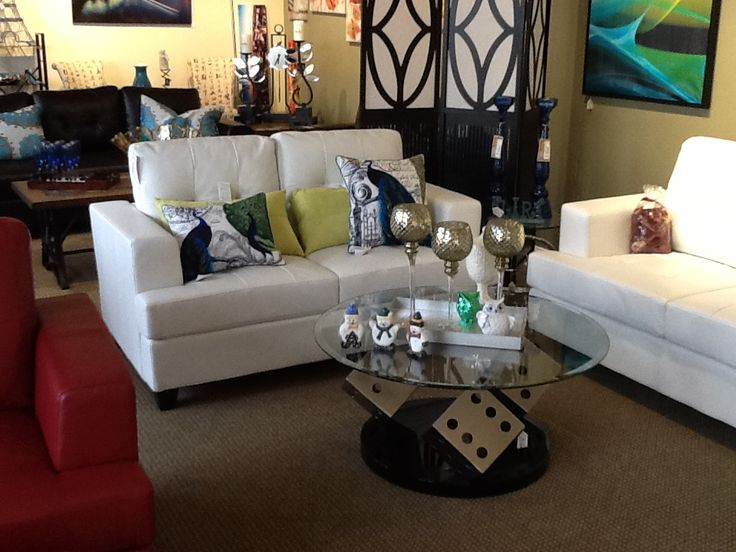 White bonded leather couch and loveseat set