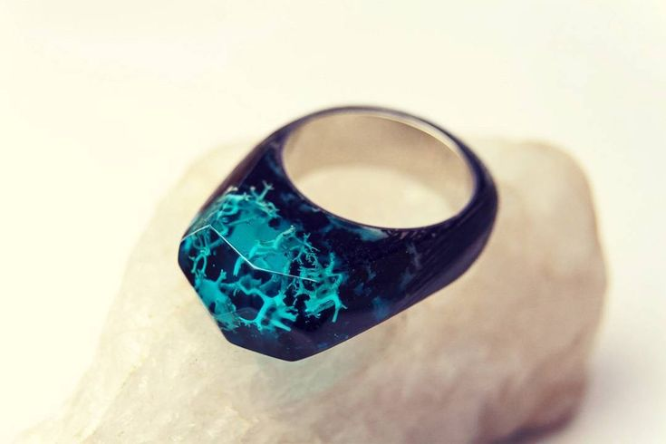 """Ring """"Coral"""" - The unique underwater world on your hand!  #greenwood #greenwoodring #woodring #resinring #secretring #corals #underwater"""