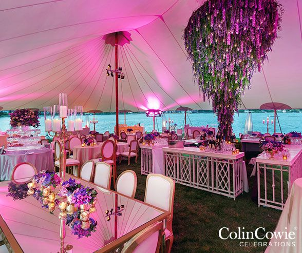 Purple Flowers, Garden Party, Outdoor Tents, Wedding Decoration || Colin Cowie Weddings