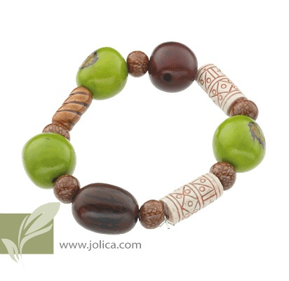 This popular bracelet is made in Peru using Tagua nut. For more information about this nut click on this link. http://en.wikipedia.org/wiki/Phytelephas