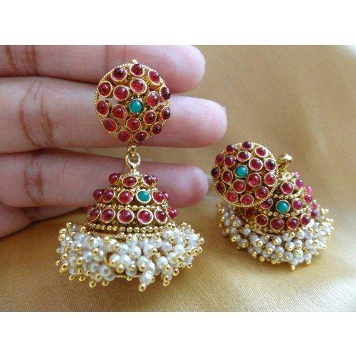 Real Kemp Jhumki - Online Shopping for Earrings by Dhaanya