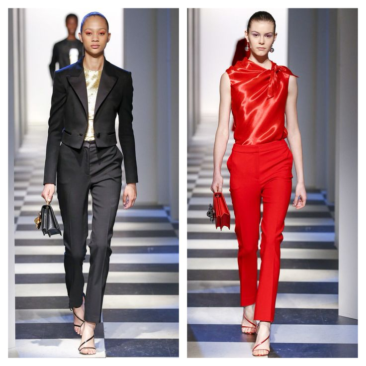 Óscar de la Renta work and after work outfit black and red suit