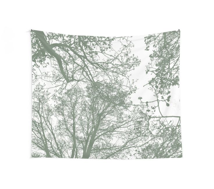 Abstract Trees Wall Tapestry by ARTbyJWP from Society6 #walltapestry #tapestry #walldeco #abstract #greenandwhite #minimal ---     Silhouettes of trees on white background. • Also buy this artwork on home decor, apparel, stickers, and more.