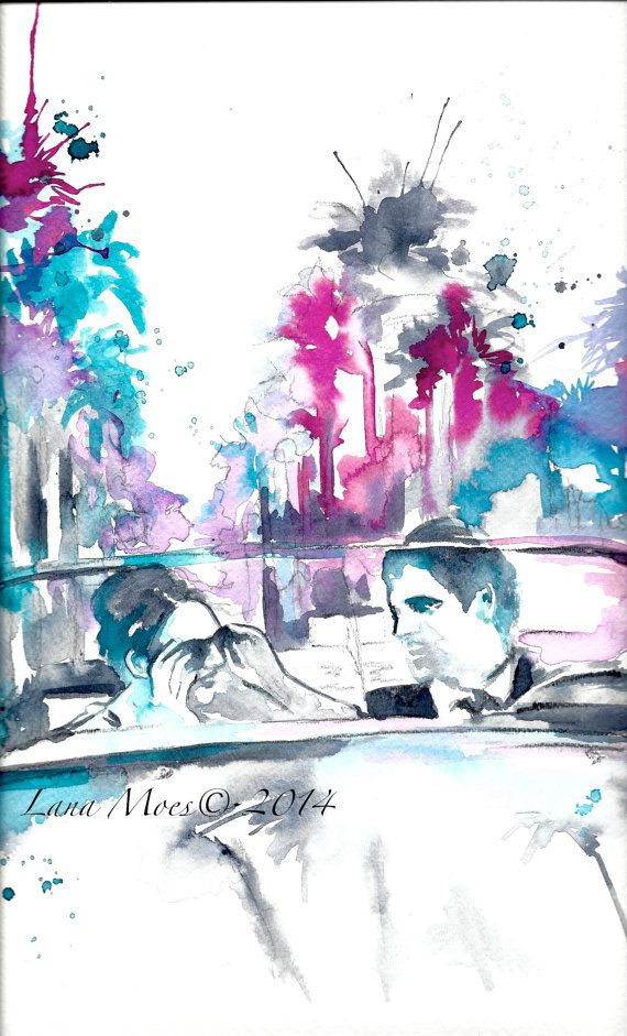 Hollywood Sunset Print from Original Watercolor Travel by LanasArt
