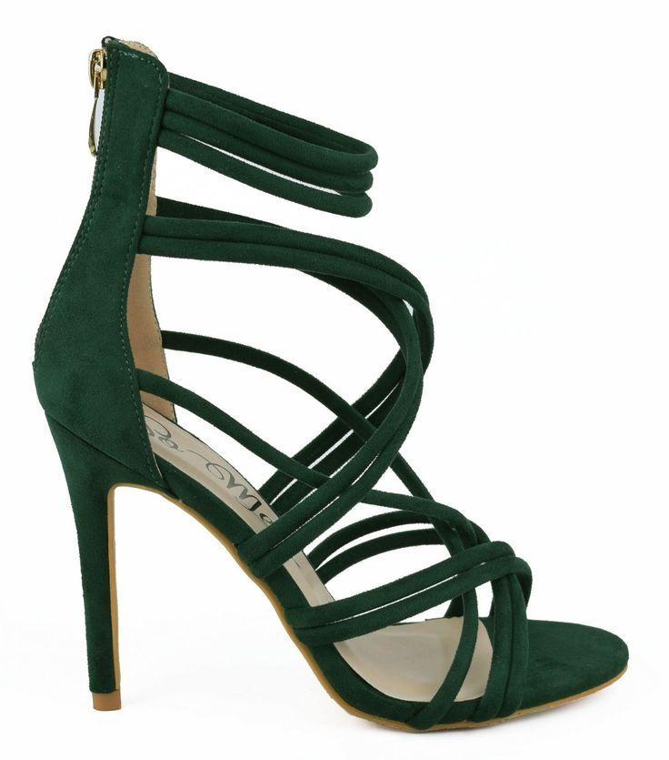 Green strappy heels