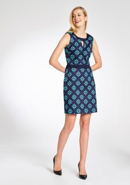 Mouwloze jurk met grafische print, AQUAREL GREEN