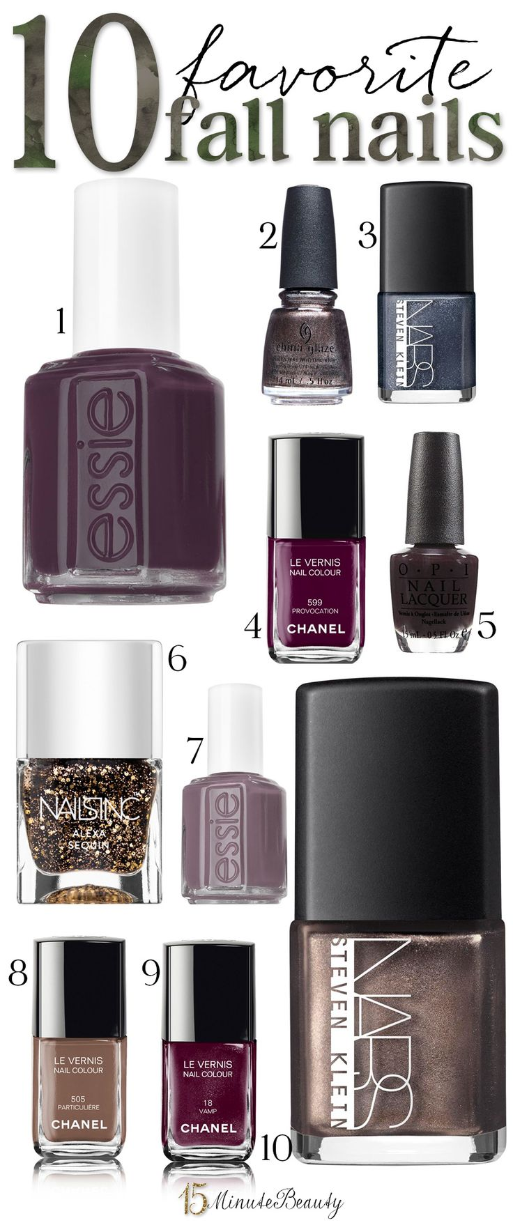 My 10 Favorite Fall Nail Polish Shades via @15 Minute Beauty