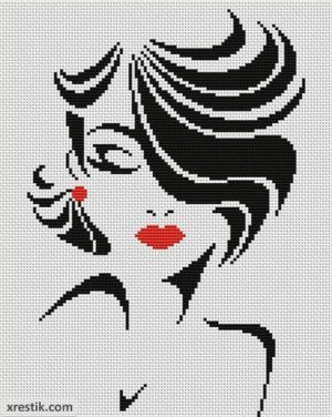 Стильная девушка №3 Люди Монохром Схема для вышивки scheme for cross stitch