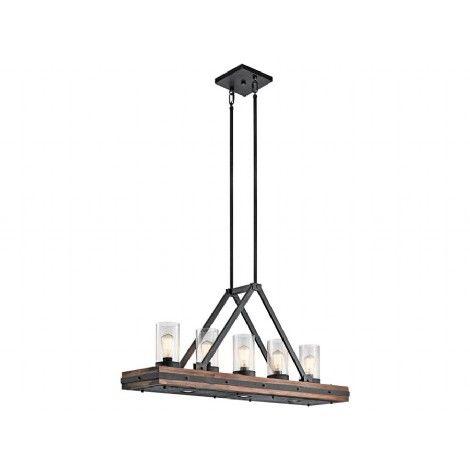 Suspendu rectangle en métal noir et bois naturel.