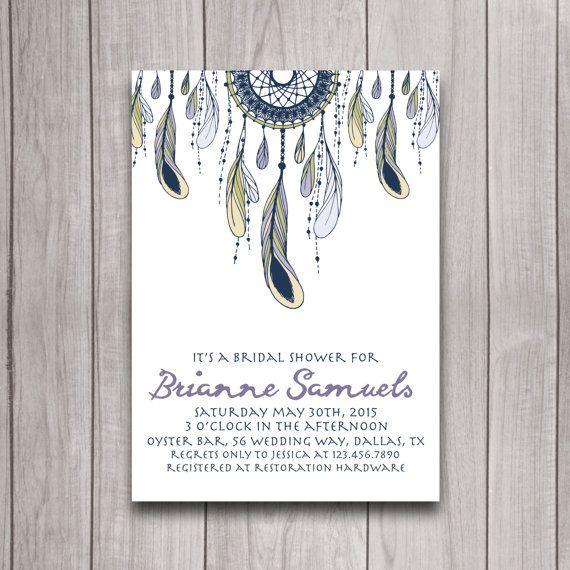 Dreamcatcher Feather Tribal Boho Bridal Shower Invitation Digital Download, Bachelorette Party, Baby Shower Invite, Sweet 16 Printable
