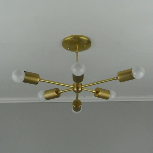 Six bare bulb starburst brass chandelier pepe carols