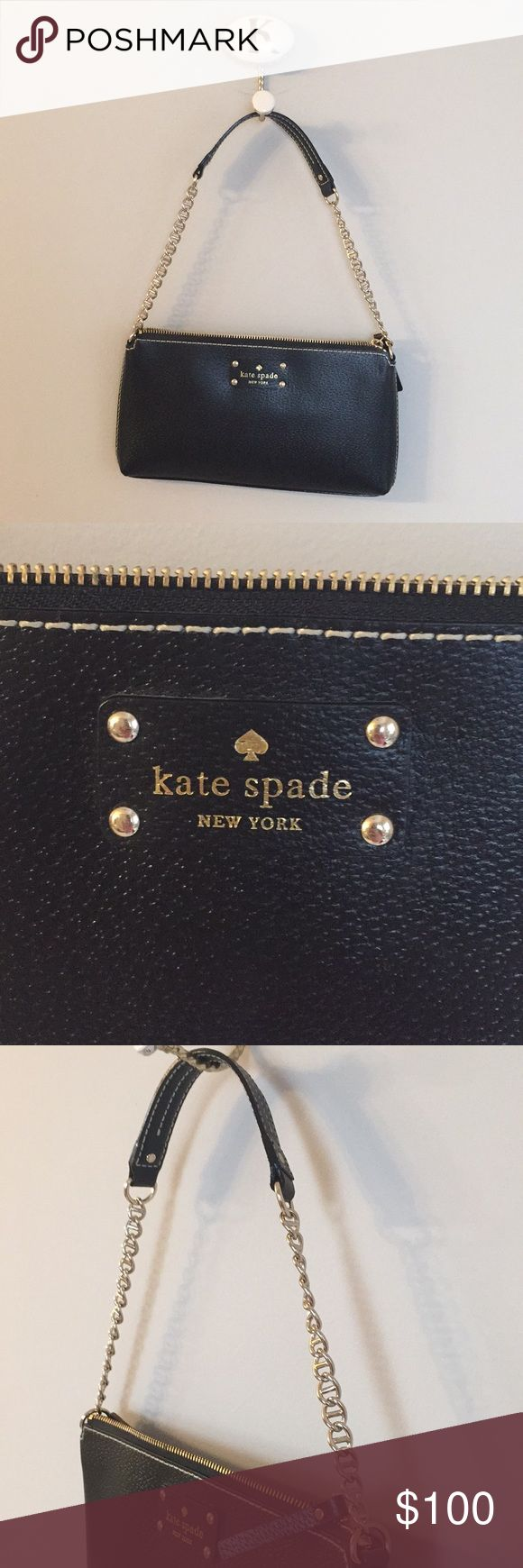 Kate Spade Black Leather Handbag A dainty black leather handbag for a fun night out! Perfect condition, never used. Bag has a gold chain strap that leads up to a leather handle at the top. Cute pink polka dot cloth inside. Gold zipper across the top of the bag. Logo on the front! kate spade Bags Shoulder Bags