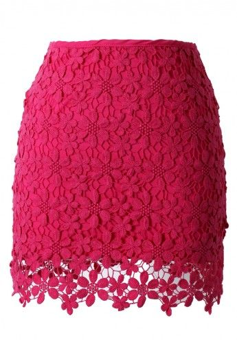 Lace Crochet Bud Skirt in Hot Pink