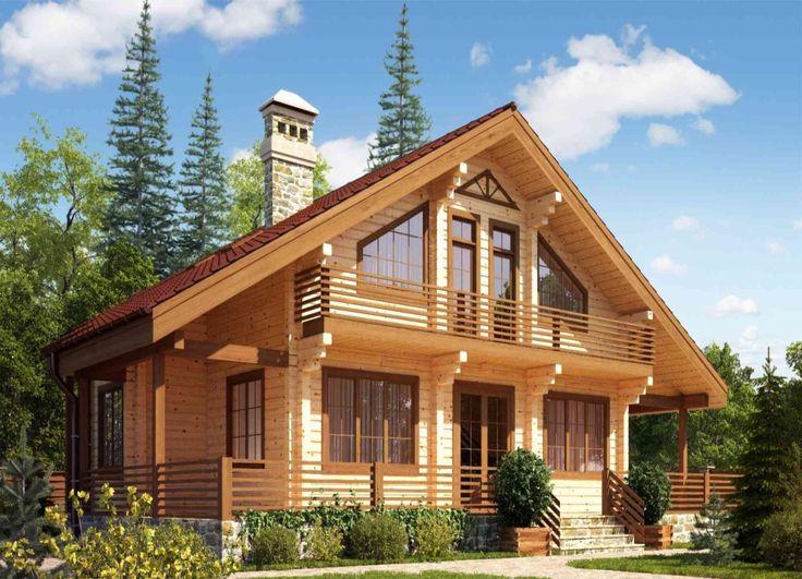 Двухэтажный дом в лесу из клееного бруса_Two-storey house in the forest from glued timber