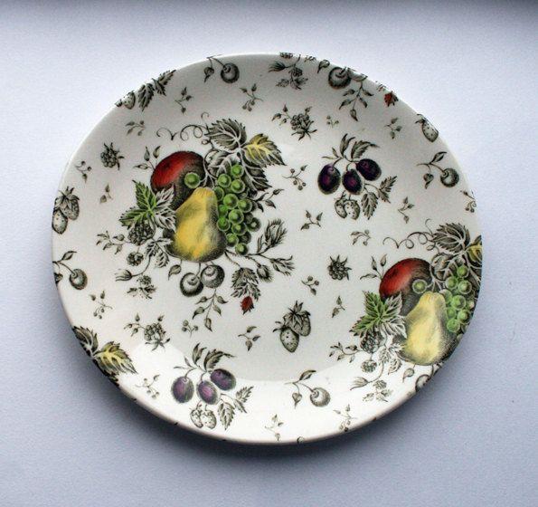 Johnson Bros. plate, Autumn's Delight. Fruit pattern china plate. English china by gardenfullofVintage on Etsy