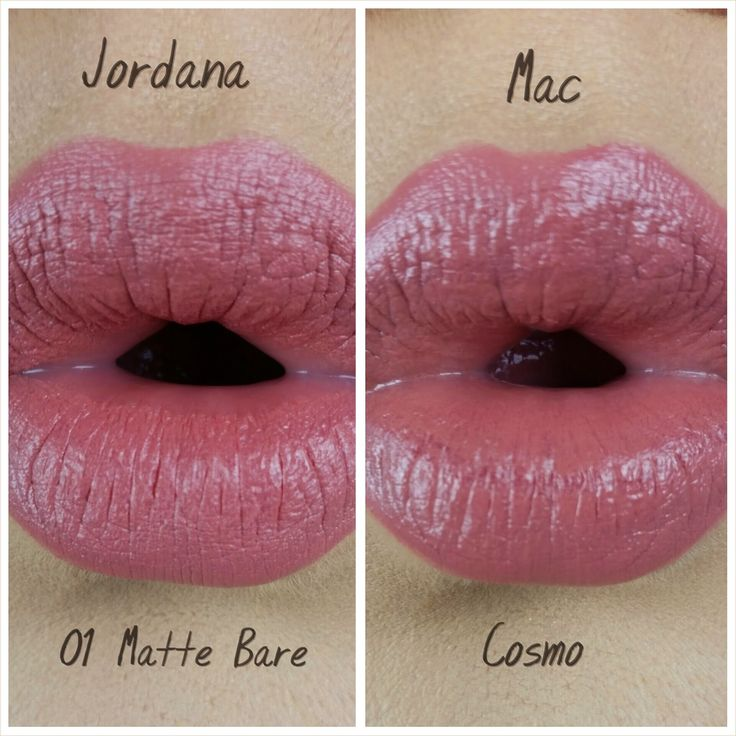 Jordana Modern Matte Lipstick in 01 Matte Bare ($2.49) DUPE for Mac Cosmetics Lipstick in Cosmo ($16). MakeupByKatV.blogspot.com