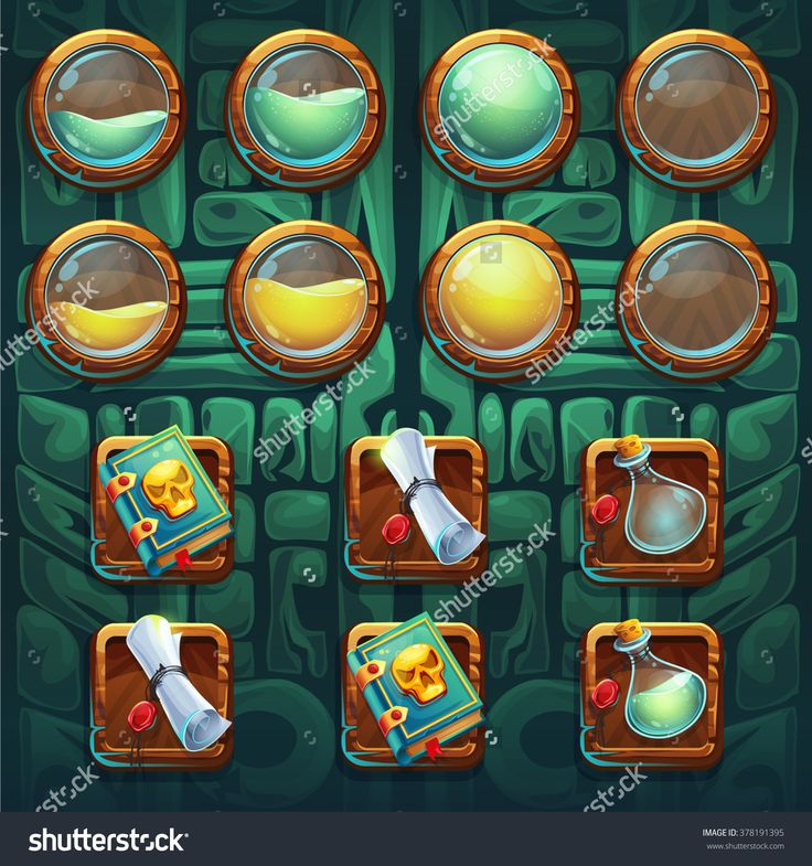 Jungle Shamans Gui Icons Buttons Kit Vector Elements For Computers Game Interface And Web Design - 378191395 : Shutterstock