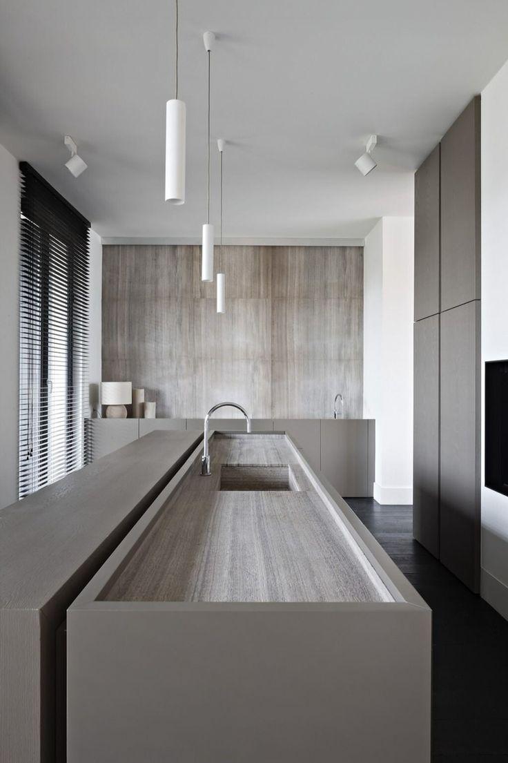 Grey kitchen, island