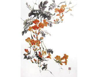 Japans inkt schilderij  Mussen op Cherry tak geschilderd met Sumi - inkt op de Japanse rijstpapier (gasenshi). formaat (inch): 25 x 18 inch maat (cm): 65 x 47 cm Montage: gesteund met een tweede laag van rijstpapier. Ingelijste en unmated  Ondertekend met rode stempel (hanko) in lagere linkerhoek met persoonlijke Japanse naam van artiest Seirei 星麗.  Ik verzenden wereldwijd. Verzendkortingen toepassen wanneer u meer dan één schilderij tegelijk koopt: Zie tabbladen van de verzending en beleid…